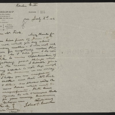 Letter from Roland F. Knoedler to Henry Clay Frick, 3 July 1906