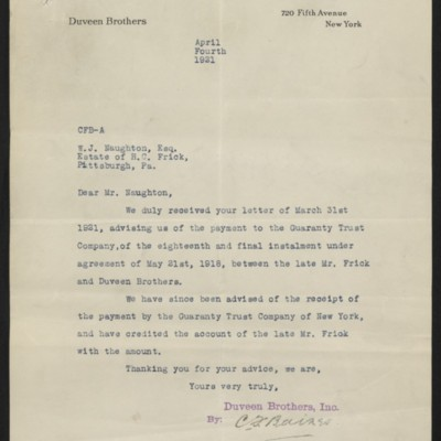 Letter from Duveen Brothers to W.J. Naughton, 4 April 1921