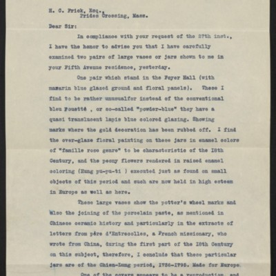 Letter from John Getz to Henry Clay Frick, 29 June 1911