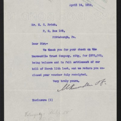 Letter from M. Knoedler & Co. to H.C. Frick, 14 April 1911