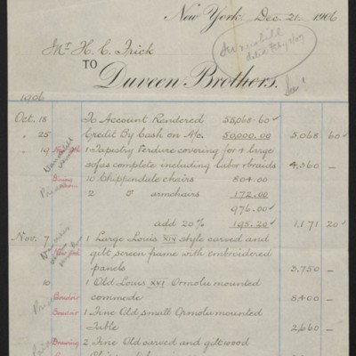 Account Statement from Duveen Brothers, 20 December 1906