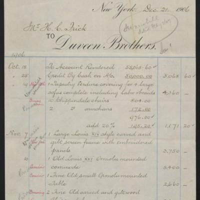 Account Statementfrom Duveen Brothers, 20 December 1906