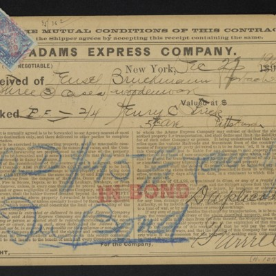 Adams Express Company shipping receipt, 29 December 1900 [front]