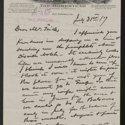 Letter from Roland F. Knoedler to Henry Clay Frick, 31 July 1917