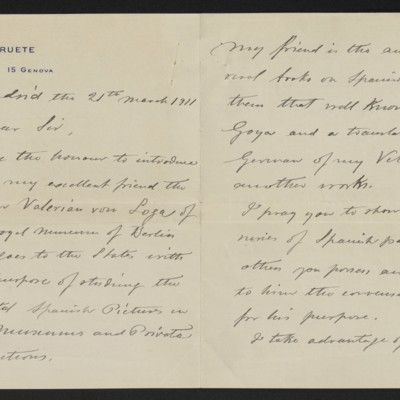Letter from A. de Beruete to Henry Clay Frick, 21 March 1911 [page 1 of 2]