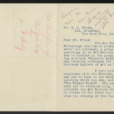 Letter from John W. Beatty to H.C. Frick, 21 December 1910 [page 1 of 2]