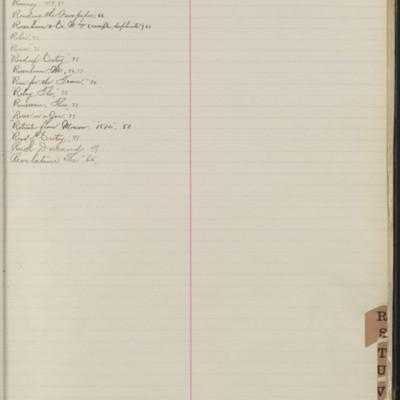 Bill Book No. 1, Index R