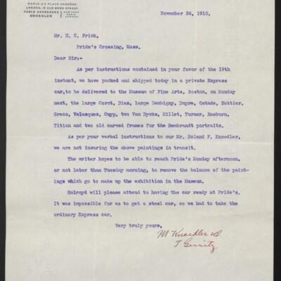 Letter from M. Knoedler & Co. to H. C. Frick, 26 November 1910