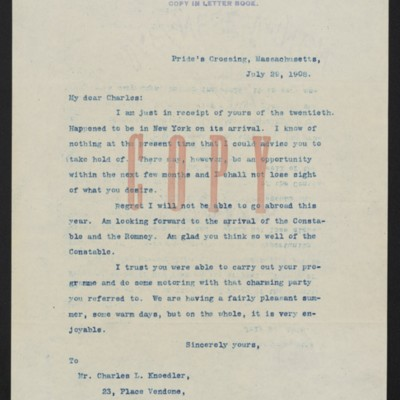 Copy of a letter from [Henry Clay Frick] to Charles L. Knoedler, 29 July 1908