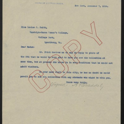 Letter from A. Braddel to Louise J. Smith, 7 December 1914