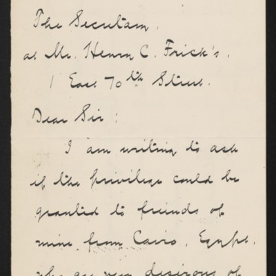 Letter from Albert M. Lythgoe to Henry Clay Frick's secretary, 17 January 1919 [page 1 of 3]