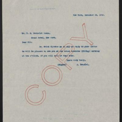 Letter from A. Braddel to H.M. Bernelot Moens, 2 December 1915