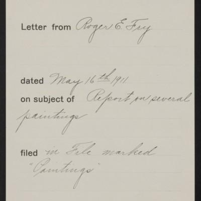 Memorandum, Office of Henry Clay Frick, 16 May 1911
