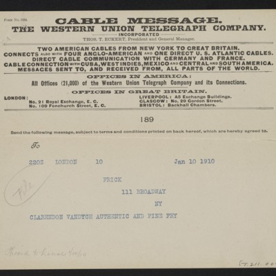 Cable from [Roger E.] Fry to [Henry Clay] Frick, 10 January 1910 [front]