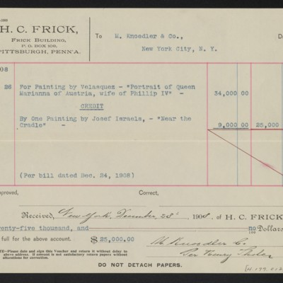 Voucher from Henry Clay Frick to M. Knoedler & Co., 2 December 1908 [back]