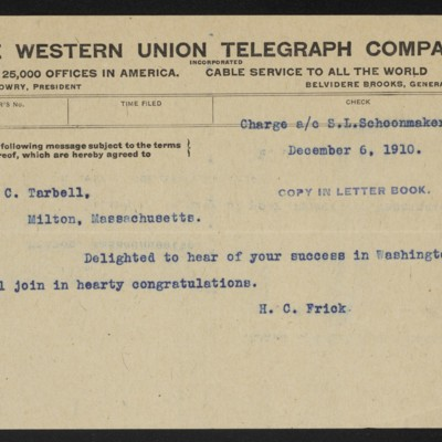 Cable from H.C. Frick to E.C. Tarbell, 6 December 1910
