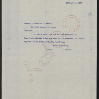 Letter from A. Braddel (secretary to Henry Clay Frick) to M. Knoedler & Co., 13 February 1917