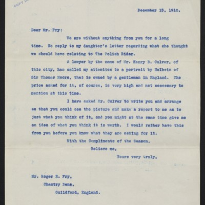 Letter from [Henry Clay Frick] to Roger E. Fry, 13 December 1910