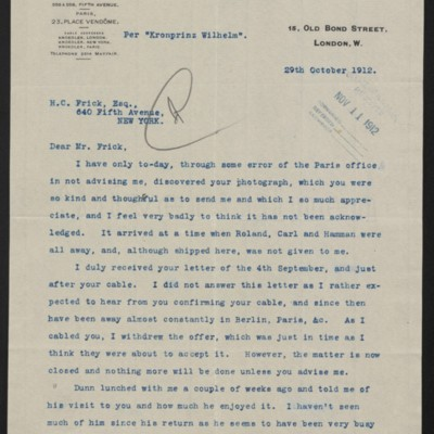 Letter from Charles S. Carstairs to Henry Clay Frick, 29 October 1912