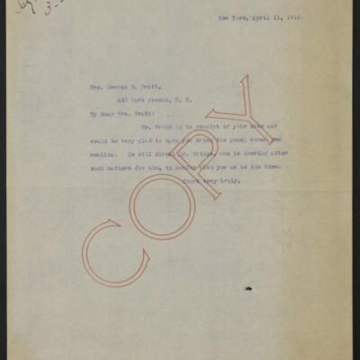 Letter from [Alice Braddel] to Mrs. George D. Pratt, 11 April 1918