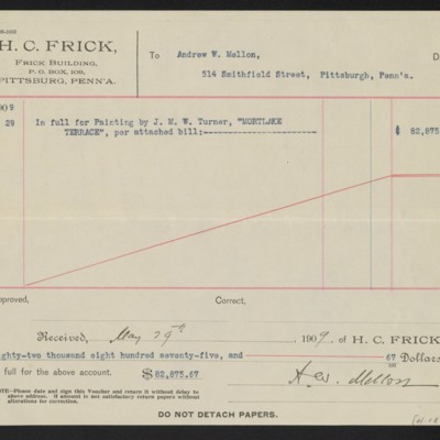 Voucher from Henry Clay Frick to Andrew W. Mellon, 29 May 1909 [back]