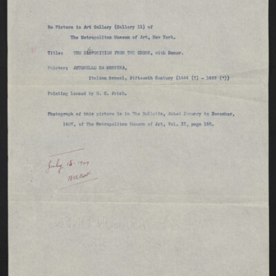 """Memo re loan of Antonello a Messina's """"Deposition from the Cross"""" to Metropolitan Museum of Art, circa 1907, 1909"""