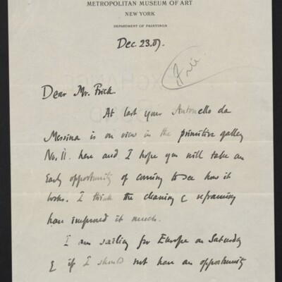 Letter from Roger E. Fry to [H.C.] Frick, 23 December 1907 [page 1 of 2]