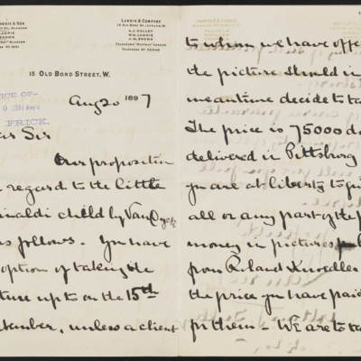 Letter from Arthur Sulley to Henry Clay Frick, 20 August 1897