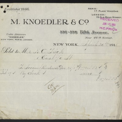 Invoice from M. Knoedler & Co. to H.C. Frick, 30 April 1918