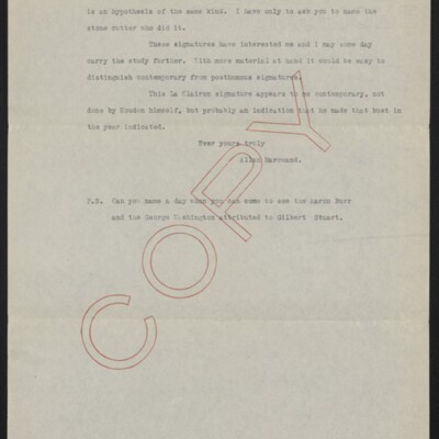 Copy of a letter from Allan Marquand to Charles Henry Hart, 18 February 1917 [page 3 of 3]
