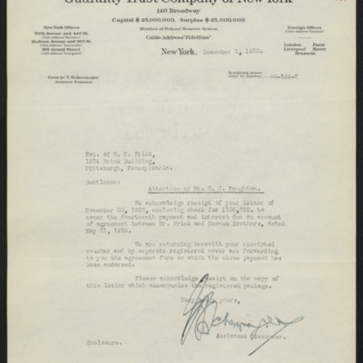 Letter from G.T. Scherzinger to Estate of Henry Clay Frick, 1 December 1920