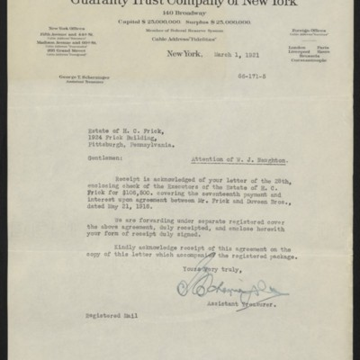 Letter from G.T. Scherzinger to Estate of Henry Clay Frick, 1 March 1921