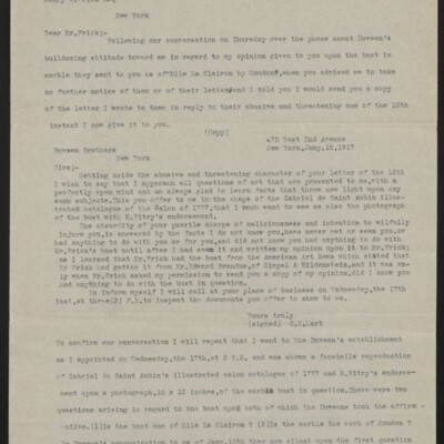 Letter from Charles Henry Hart to Henry C. Frick, 20 January 1917 [page 1 of 3]