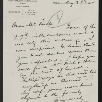 Letter from Roland F. Knoedler to Henry Clay Frick, 29 May 1914