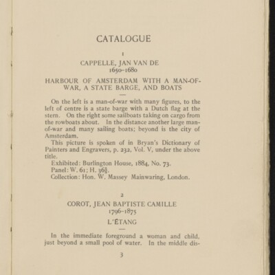 Catalogue of the Henry C. Frick Collection of Paintings, 1908 [page 3]