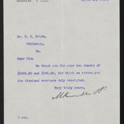 Letter from M. Knoedler & Co. to Henry Clay Frick, 25 April 1906