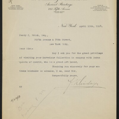 Leter from F. Keinberger to Henry C. Frick, 19 April 1918
