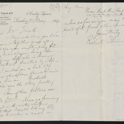 Letter from Robert Fleming to [Henry Clay] Frick, 21 May 1914