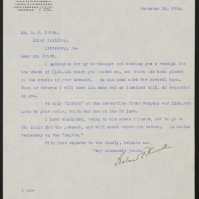 Letter from Roland F. Knoedler to Henry Clay Frick, 18 November 1904
