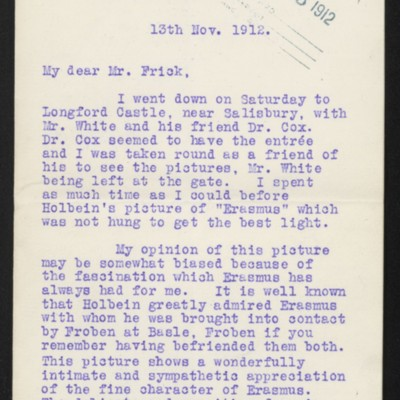 Letter from James Dunn to H.C. Frick, 13 November 1912 [page 1 of 3]