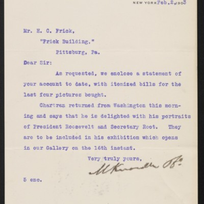 Letter from M. Knoedler & Co. to Henry Clay Frick, 2 February 1903