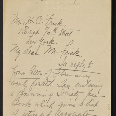 Letter from Gertrude B. Weed to H.C. Frick, 8 March 1917 [page 1 of 2]