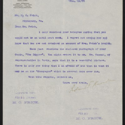 Letter from Roland F. Knoedler to Henry Clay Frick, 24 February 1898