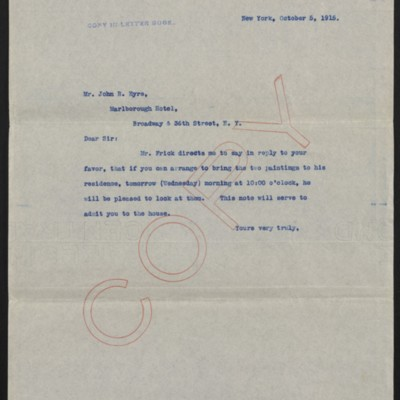 Letter from [H.C. Frick] to John R. Eyre, 5 October 1915