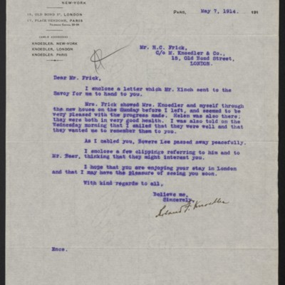 Letter from Roland F. Knoedler to Henry Clay Frick, 7 May 1914