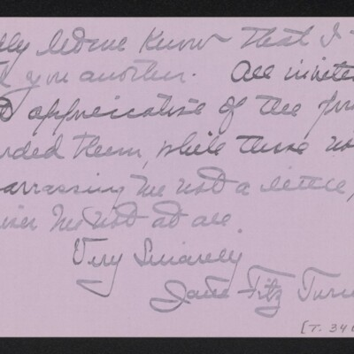 Letter from Jane Fitz Turner to [J. Howard] Bridge, 17 February 1918 [page 2 of 2]