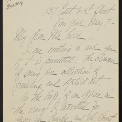 Letter from Rose Cardwell Hughes to Henry Clay Frick, 7 May 1918 [page 1 of 2]