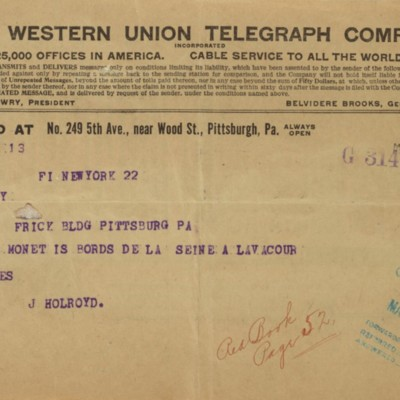 Telegram from Joseph Holroyd to F.W. McElroy, 22 March 1911