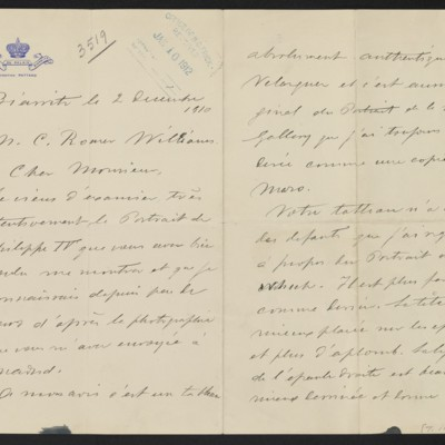 Letter from A. de Beruete to C. Romer Williams, 2 December 1910 [page 1 of 2]