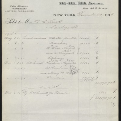 Invoice from M. Knoedler & Co. to Henry Clay Frick, 30 December 1916